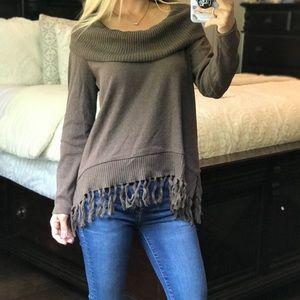 Rafaella Brown Sweater With Fringe